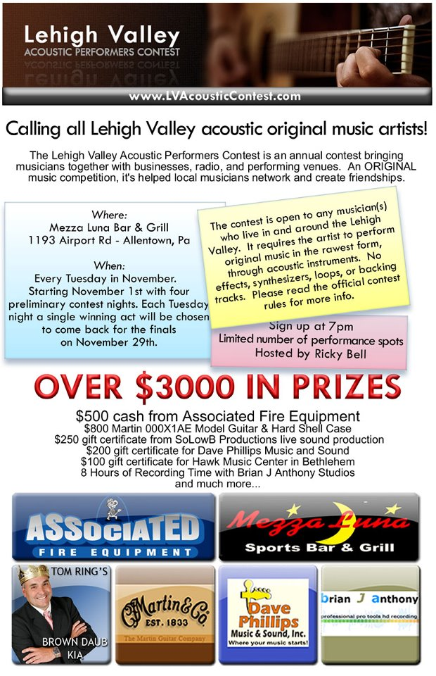 Lehigh Valley Acoustic Contest Flyer