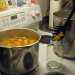 Ladling cooked pumpkin